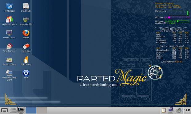 Parted Magic screenshot (620 pix)
