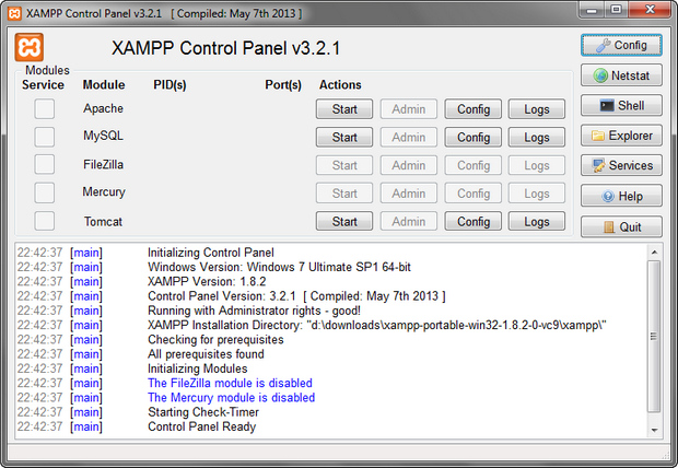 XAMPP screenshot (620 pix)