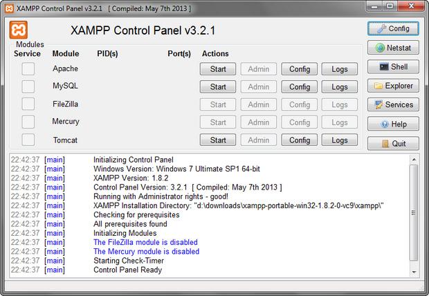 XAMPP screenshot (620 pix)