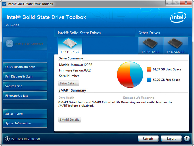 Intel SSD Toolbox 3.0 screenshot (620 pix)