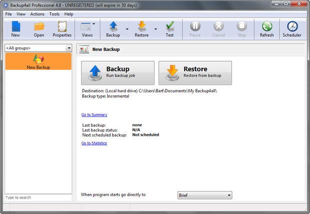 Backup4all screenshot (620 pix)