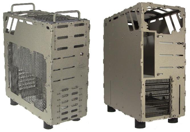 Duits bedrijf toont passief gekoelde atx behuizing computer