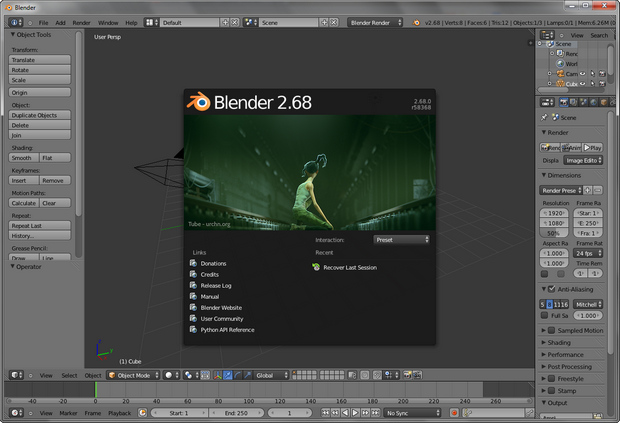 Blender 2.68 screenshot (620 pix)