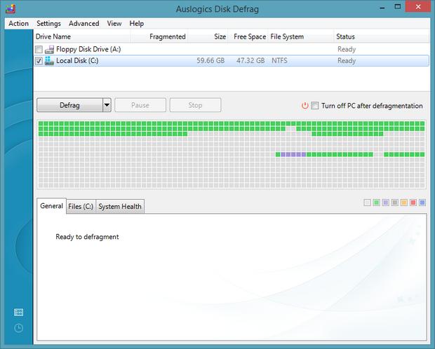 Auslogics Disk Defrag screenshot (620 pix)