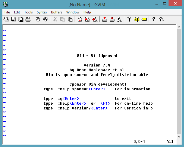 Vim 7.4 screenshot