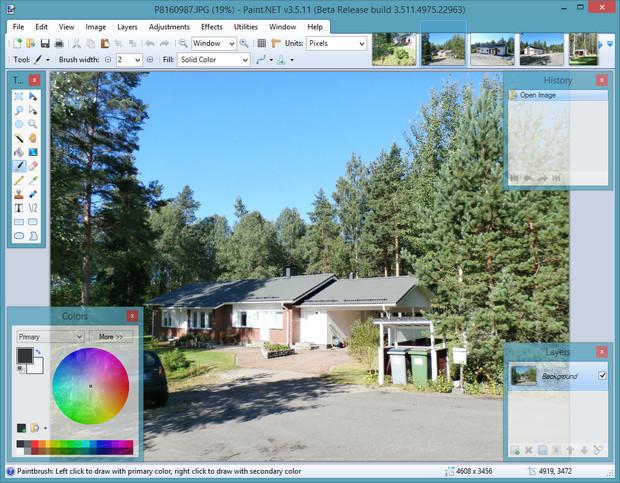 Paint.NET 3.5.11 bèta screenshot (620 pix)