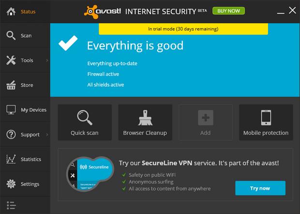 Avast! Antivirus 2014 screenshot (620 pix)