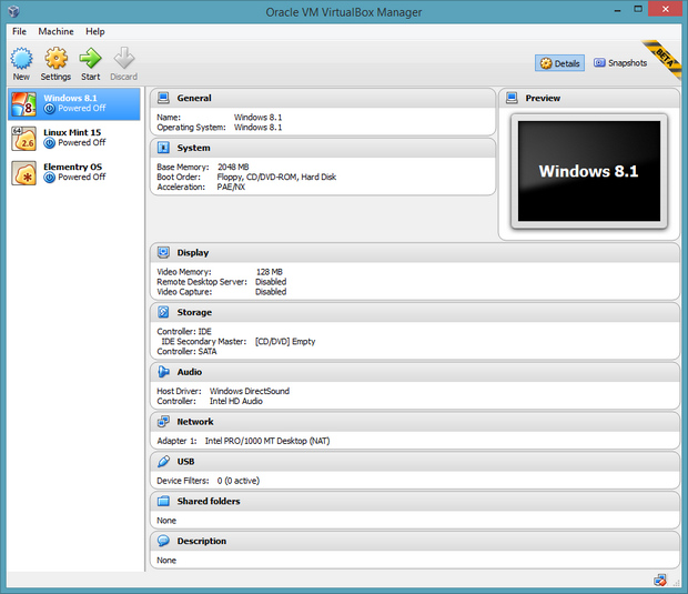 VirtualBox 4.3.0 bèta screenshot (620 pix)