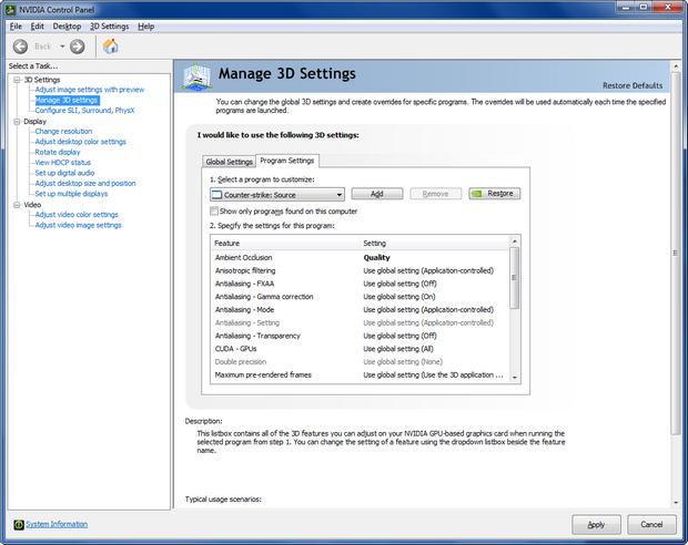 Nvidia GeForce/Ion 331.40 bèta control panel (620 pix)