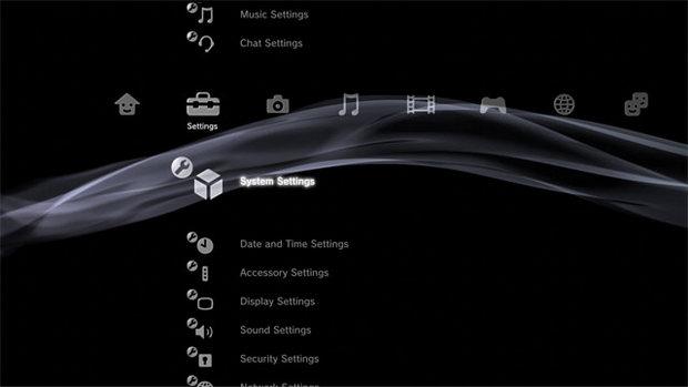 Sony PlayStation 3 menu (620 pix)