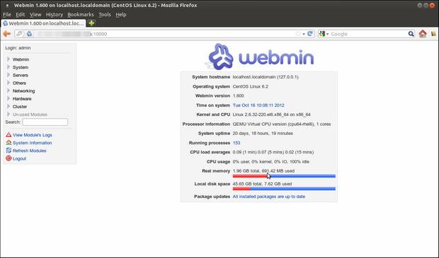 Webmin screenshot (620 pix)