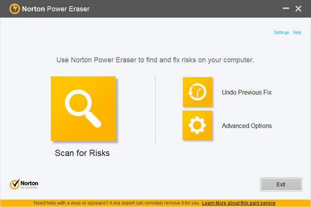Norton Power Eraser 4.0 screenshot (620 pix)