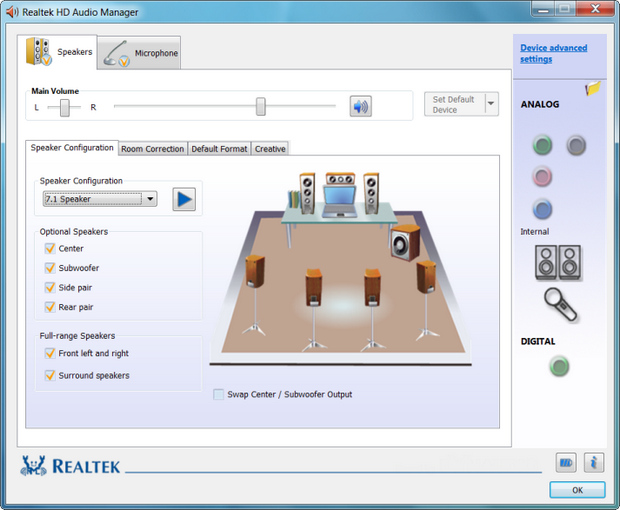 Realtek HD Audio screenshot (620 pix)