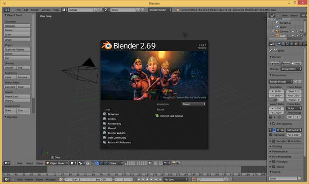 Blender 2.69 screenshot (620 pix)