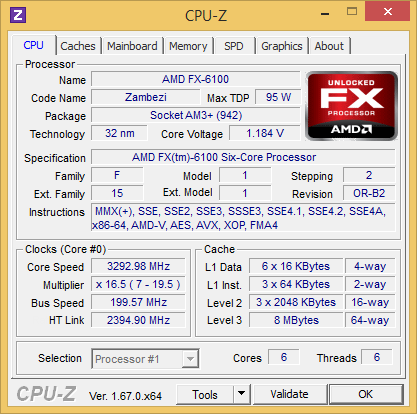 CPU-Z 1.67 screenshot