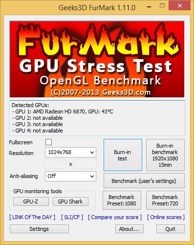 FurMark 1.11.0 screenshot