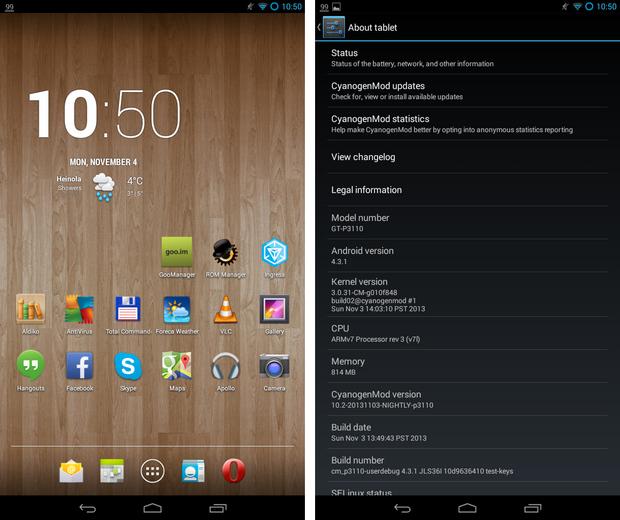CyanogenMod 10.2 screenshots op Samsung Galaxy Tab 2 7.0 (620 pix)