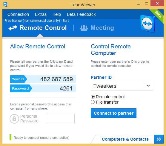 TeamViewer 9.0 bèta screenshot