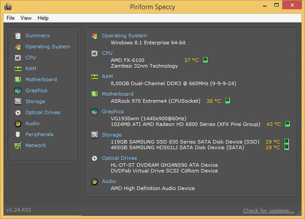 Speccy 1.24 build 632 screenshot (620 pix)