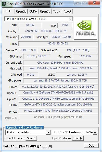 GPU Caps Viewer 1.19.0 screenshot