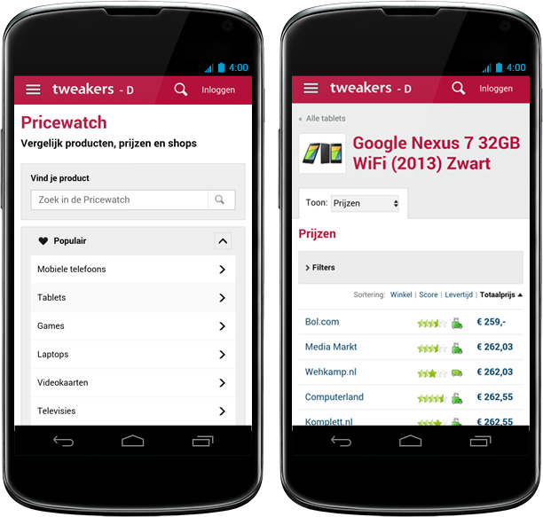 Responsive design op Android-toestel