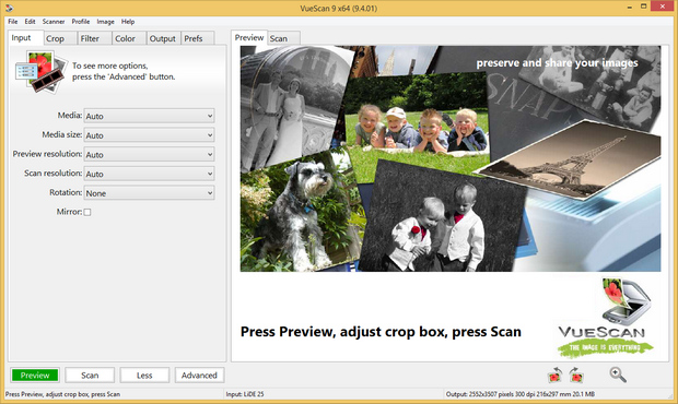 VueScan 9.4.01 screenshot (620 pix)