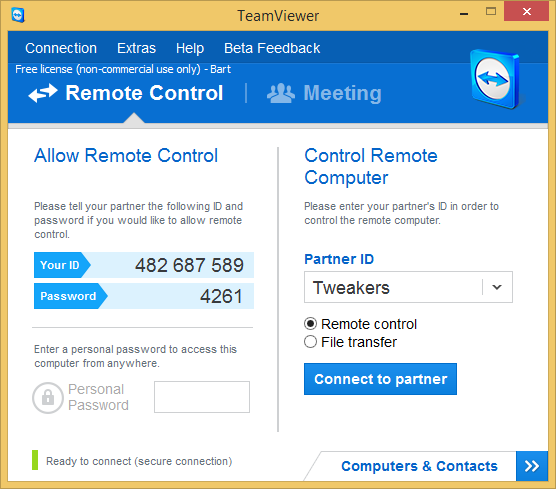 TeamViewer 9.0 bèta screenshot