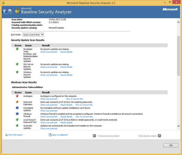 Microsoft Baseline Security Analyzer screenshot (620 pix)