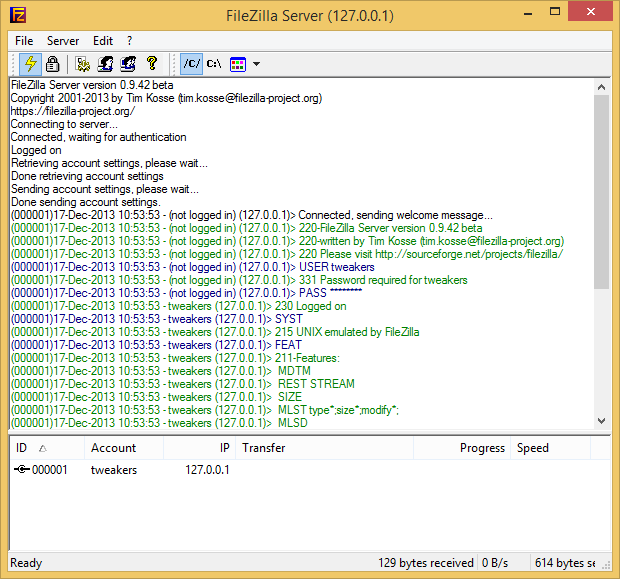 FileZilla Server screenshot (620 pix)