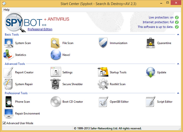 Spybot - Search & Destroy + AV 2.3 screenshot (620 pix)
