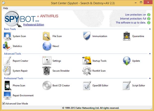 Spybot - Search & Destroy + AV 2.3 screenshot (620 pix)
