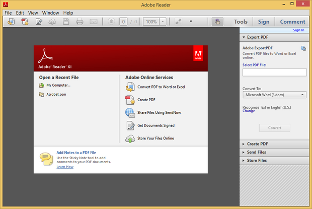 Adobe Reader XI screenshot (620 pix)
