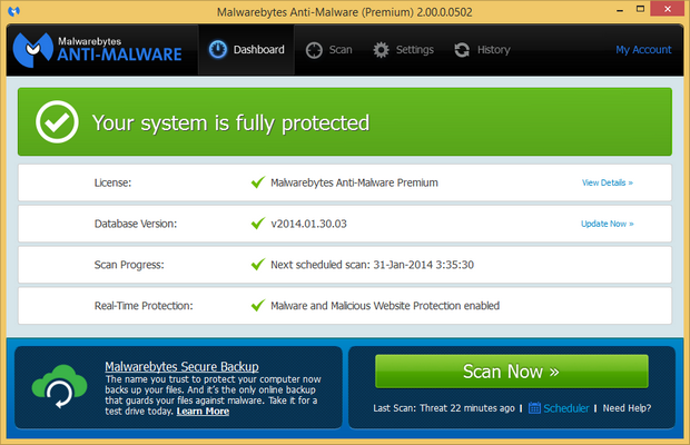 Malwarebytes' Anti-Malware 2.0 screenshot (620 pix)