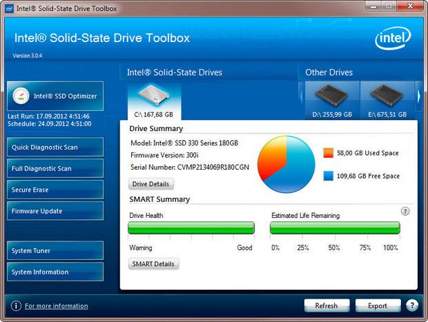Intel SSD Toolbox 3.0 screenshot (620 pix)
