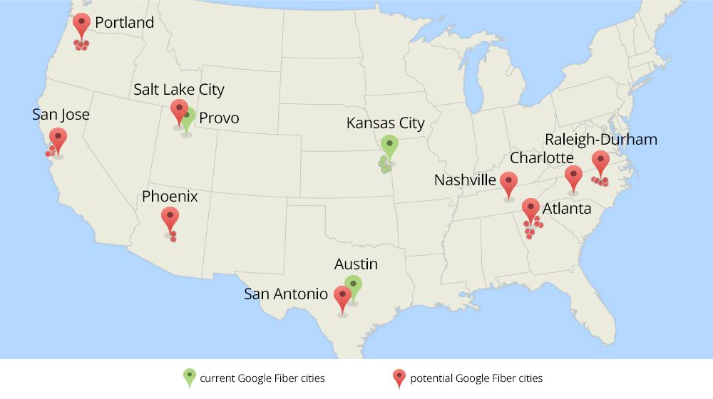 Google Fiber-steden