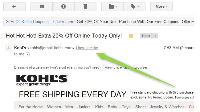 Uitschrijf-knop in Gmail