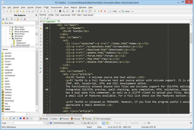 RJ TextEd screenshot (620 pix)