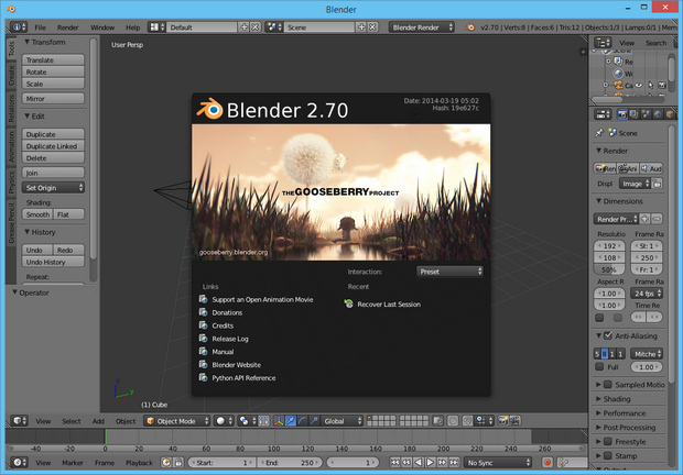 Blender 2.70 screenshot (620 pix)