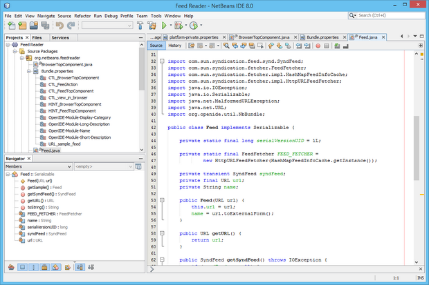NetBeans IDE 8.0 screen shot (620 pix)