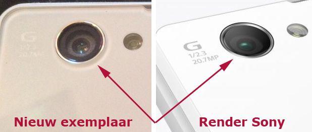 Sony Xperia Z1 Compact - nieuw exemplaar vs render