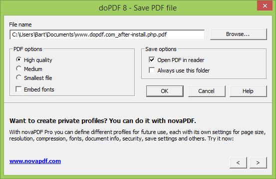 doPDF 8.0 build 902 screenshot (620 pix)