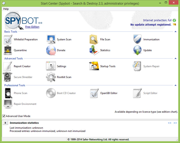 Spybot - Search & Destroy 2.3 screenshot (620 pix)