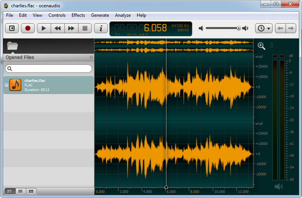 Ocenaudio screenshot (620 pix)
