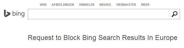 Bings formulier voor recht om vergeten te worden