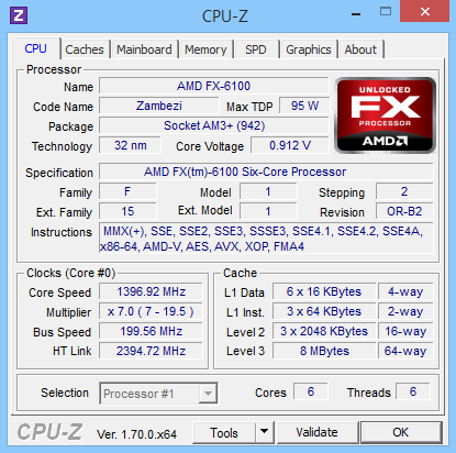 CPU-Z 1.70 screenshot