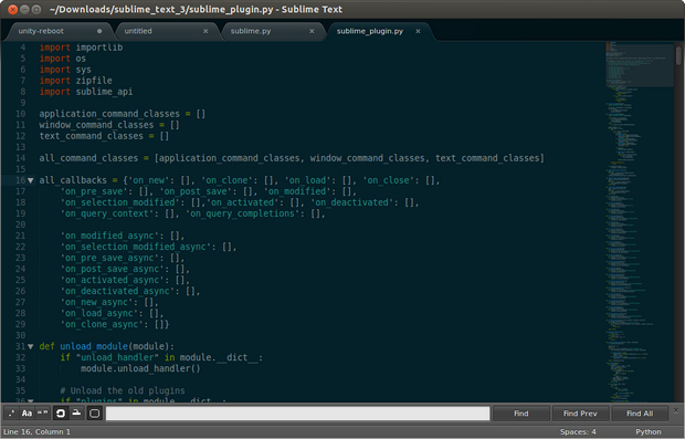 Sublime Text 3.0 screenshot (620 pix)