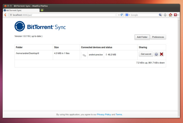 BitTorrent Sync screenshot (620 pix)