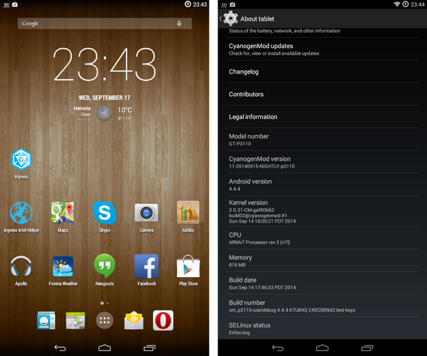 CyanogenMod 11 screenshots op Samsung Galaxy Tab 2 7.0 (620 pix)