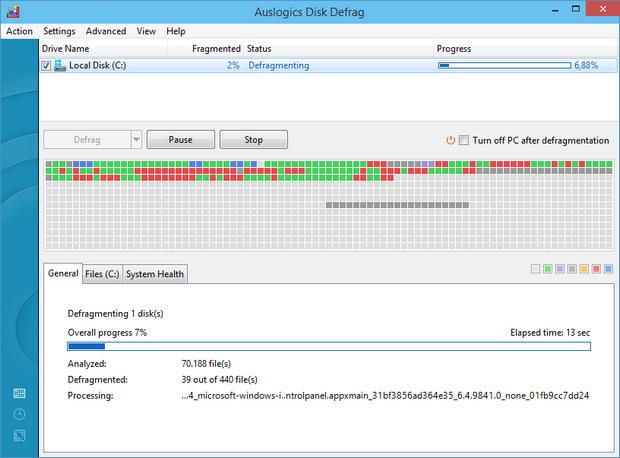 Auslogics Disk Defrag 5.0 screenshot (620 pix)