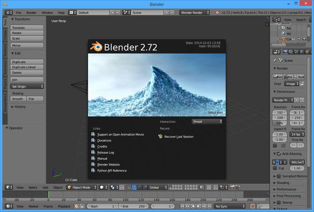 Blender 2.72 screenshot (620 pix)